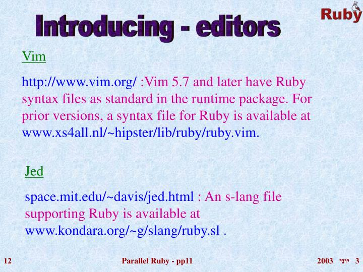 Introducing - editors