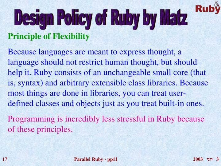 Design Policy of Ruby by Matz