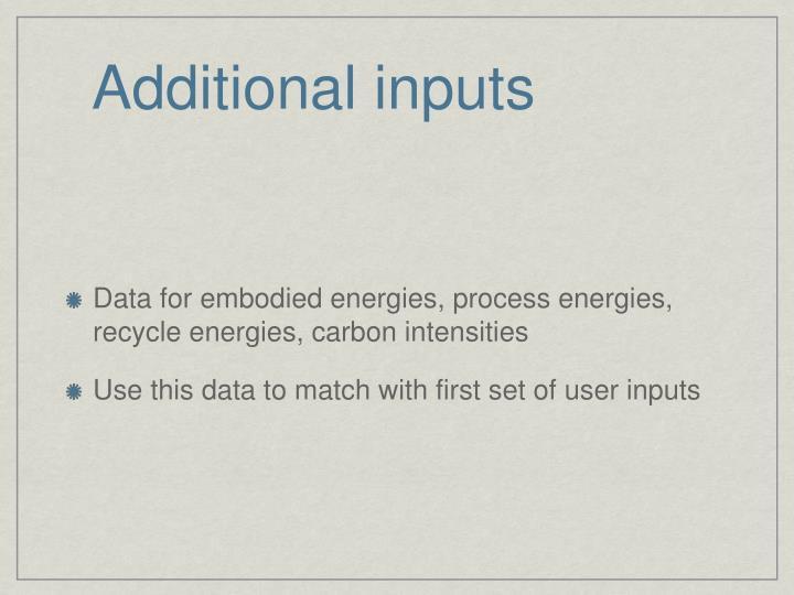 Additional inputs