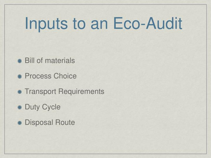 Inputs to an Eco-Audit