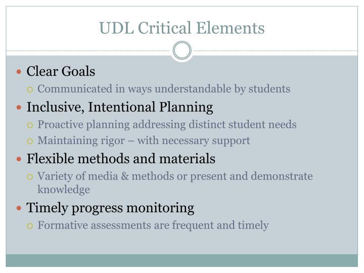 UDL Critical Elements