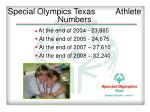 special olympics texas athlete numbers