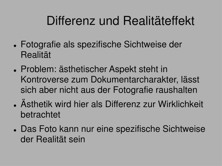 Differenz und Realitäteffekt