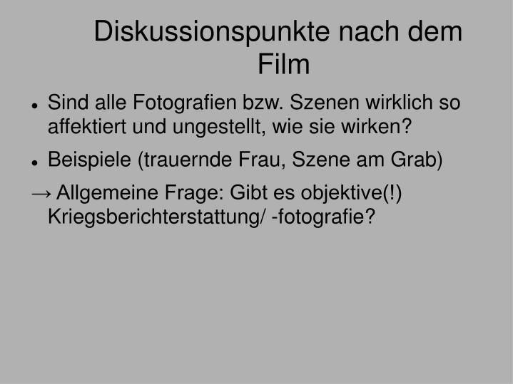Diskussionspunkte nach dem Film
