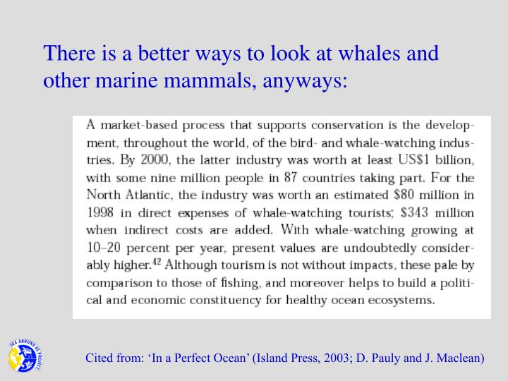 There is a better ways to look at whales and other marine mammals, anyways: