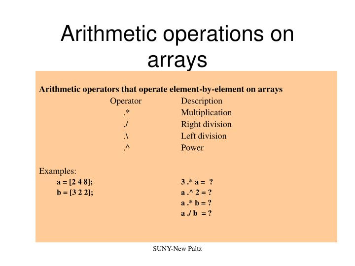Arithmetic operations on arrays