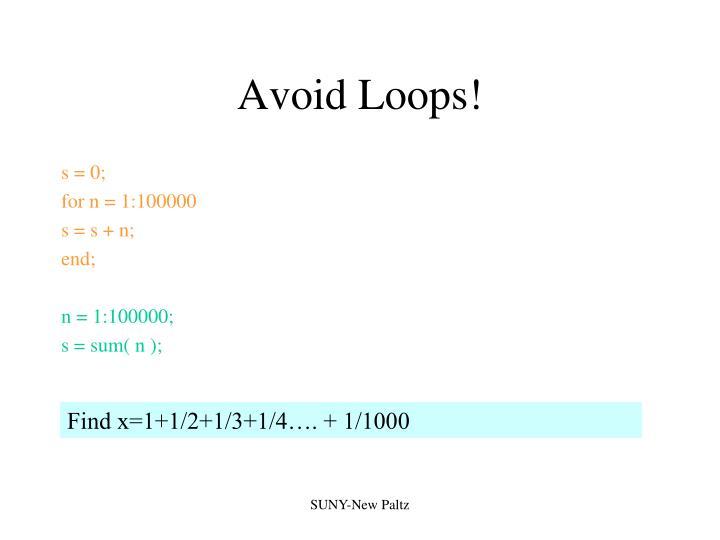 Avoid Loops!