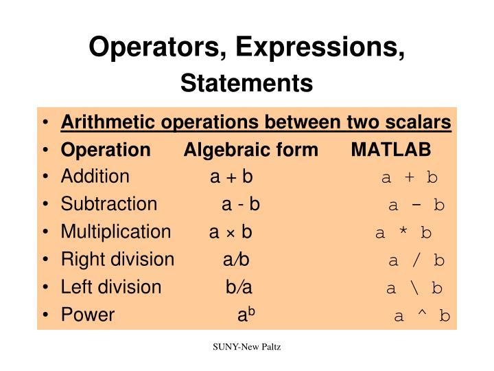 Operators, Expressions,