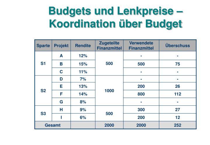 Budgets und Lenkpreise – Koordination über Budget