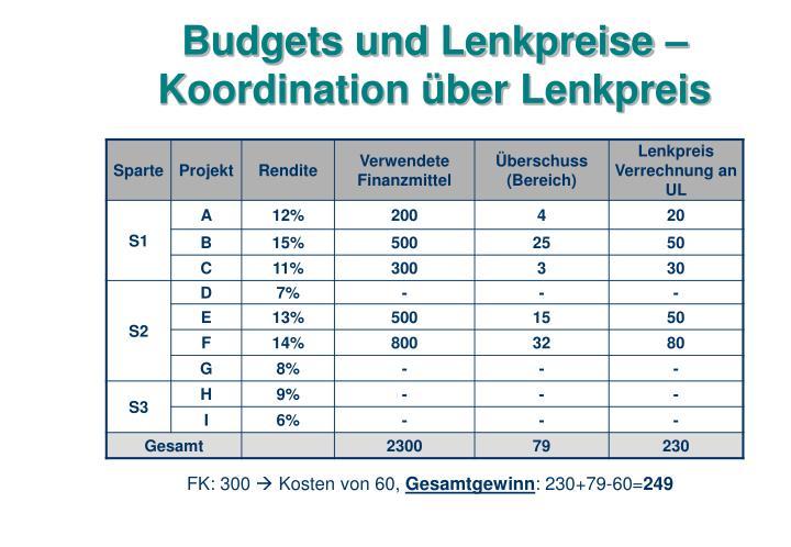 Budgets und Lenkpreise – Koordination über Lenkpreis