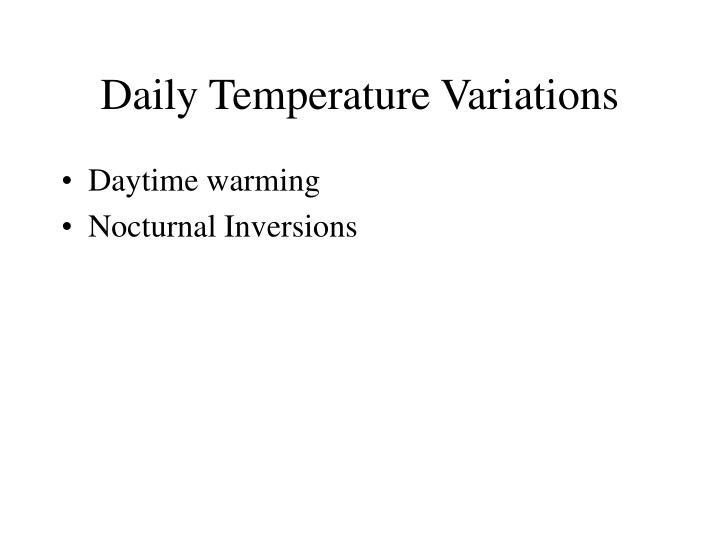Daily Temperature Variations