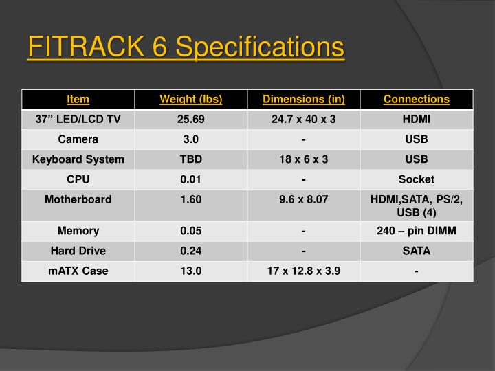 FITRACK 6 Specifications