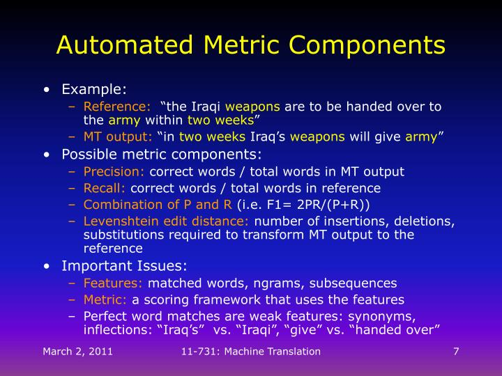 Automated Metric Components
