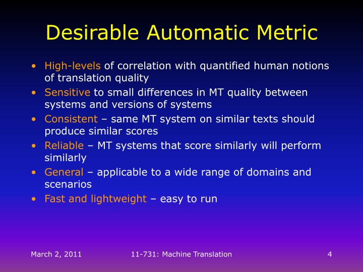 Desirable Automatic Metric