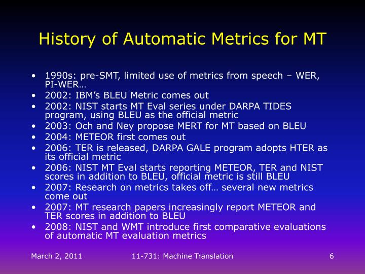 History of Automatic Metrics for MT