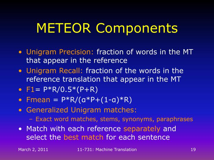 METEOR Components