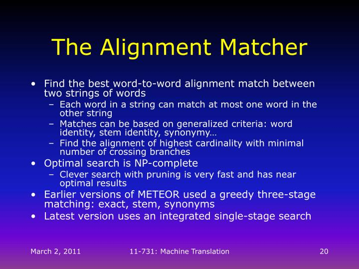 The Alignment Matcher