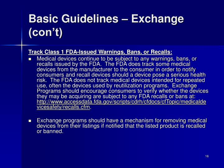 Basic Guidelines – Exchange (con't)