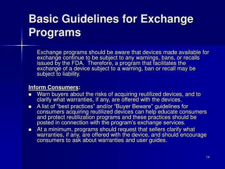 Basic Guidelines for Exchange Programs