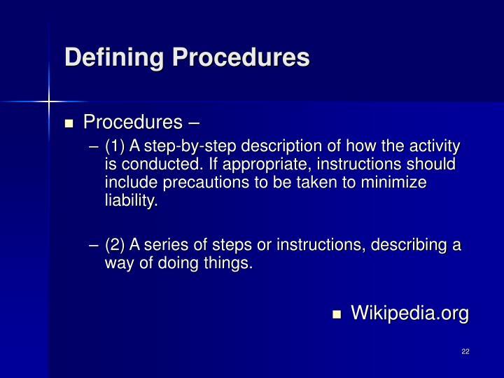 Defining Procedures