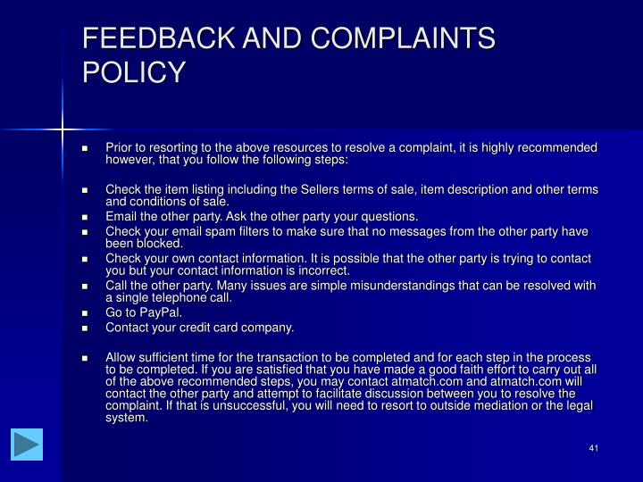 FEEDBACK AND COMPLAINTS POLICY