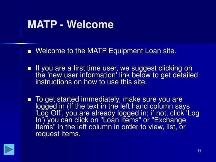 MATP - Welcome