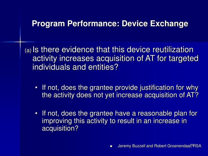 Program Performance: Device Exchange