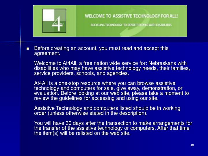 Before creating an account, you must read and accept this agreement.