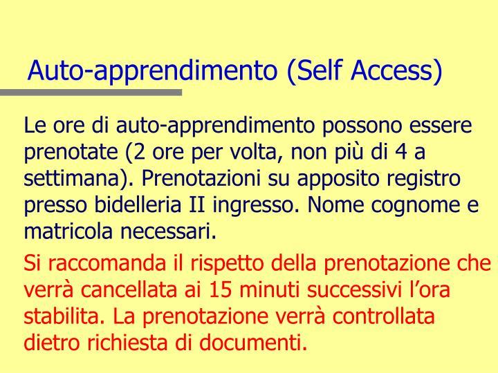 Auto-apprendimento (Self Access)