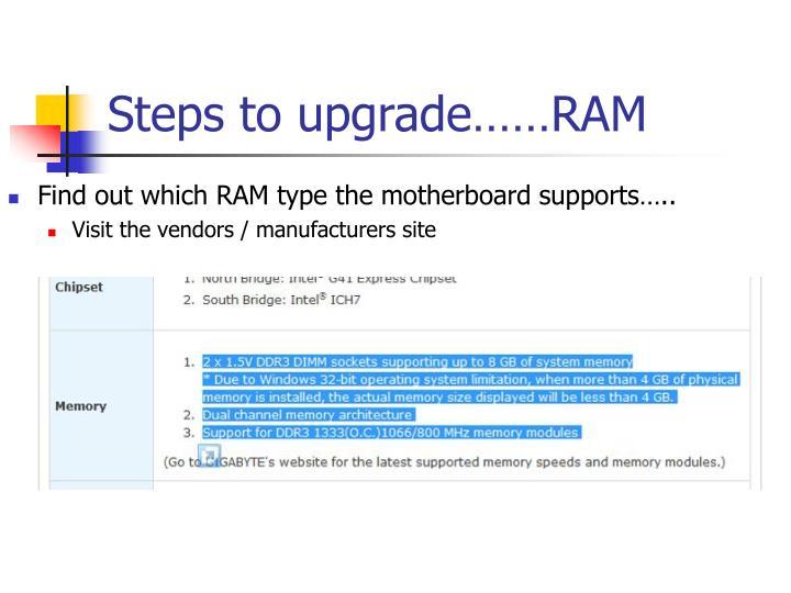 Steps to upgrade……RAM