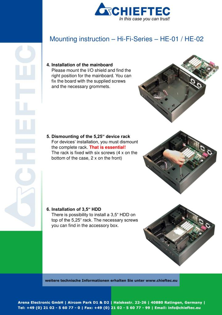 Mounting instruction – Hi-Fi-Series – HE-01 / HE-02