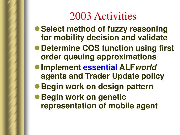 2003 Activities