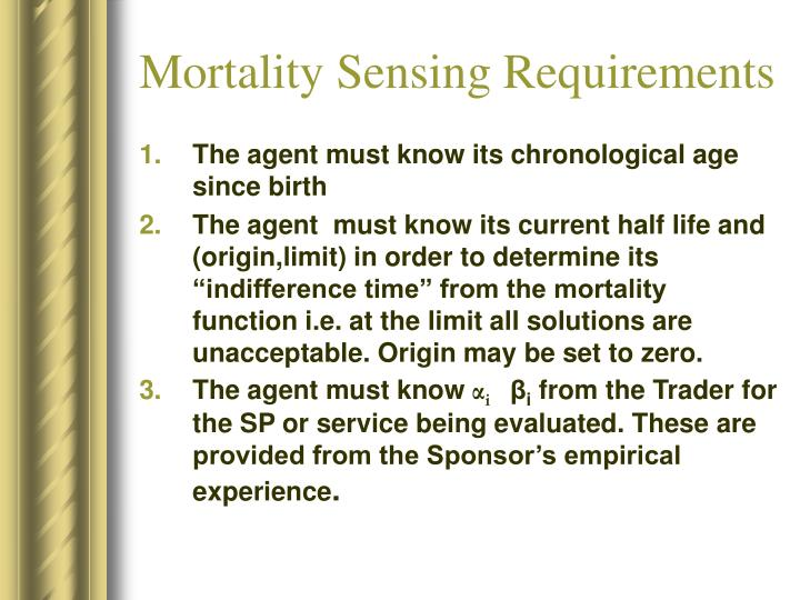 Mortality Sensing Requirements