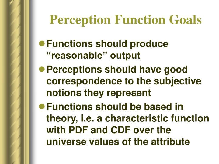Perception Function Goals