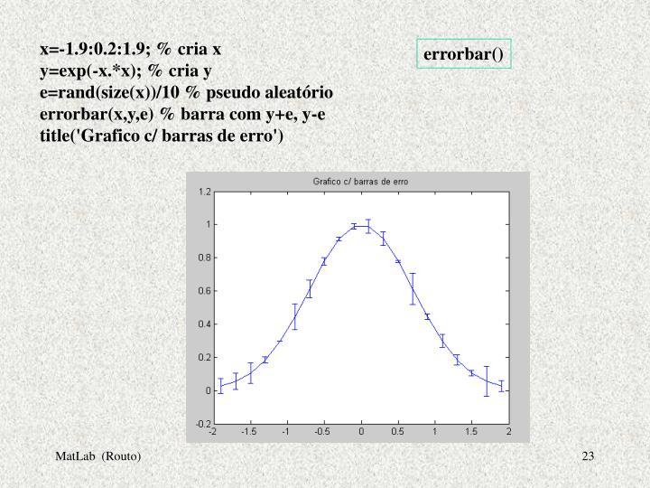 x=-1.9:0.2:1.9; % cria x
