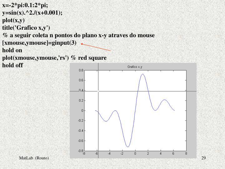 x=-2*pi:0.1:2*pi;