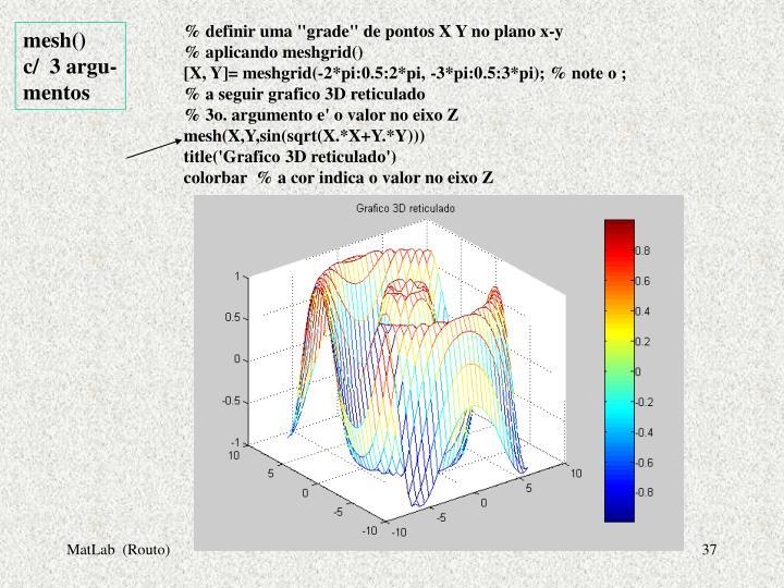 """% definir uma """"grade"""" de pontos X Y no plano x-y"""