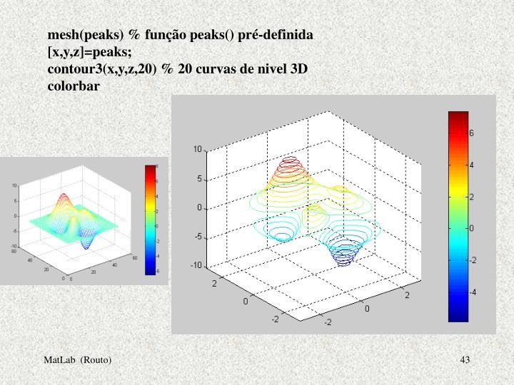 mesh(peaks) % função peaks() pré-definida