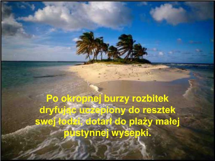 Po okropnej burzy rozbitek dryfując uczepiony do resztek swej łodzi, dotarł do plaży małej pustynnej wysepki.