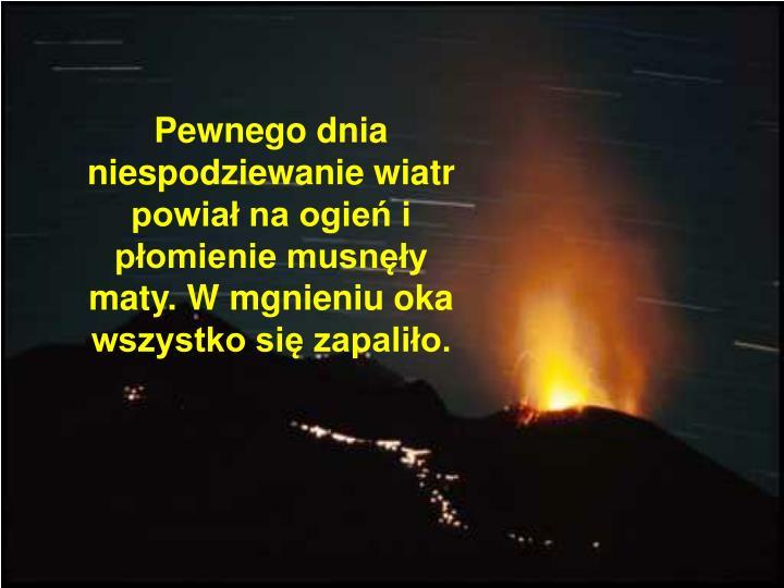 Pewnego dnia niespodziewanie wiatr powiał na ogień i płomienie musnęły maty. W mgnieniu oka wszystko się zapaliło.