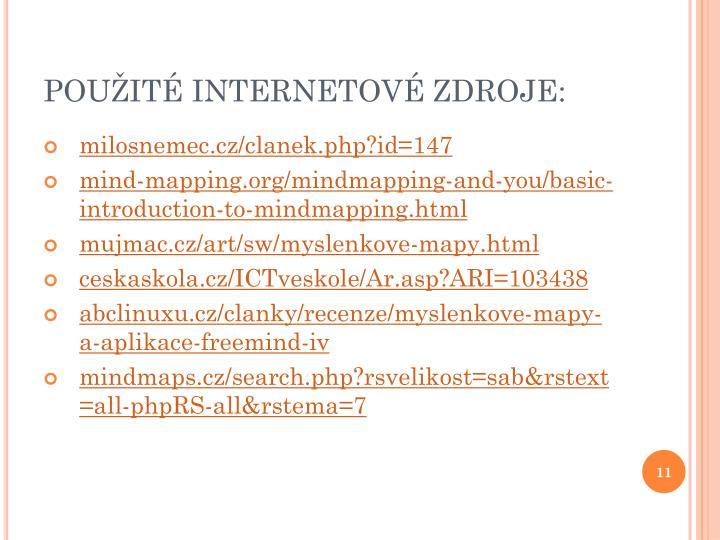 POUŽITÉ INTERNETOVÉ ZDROJE: