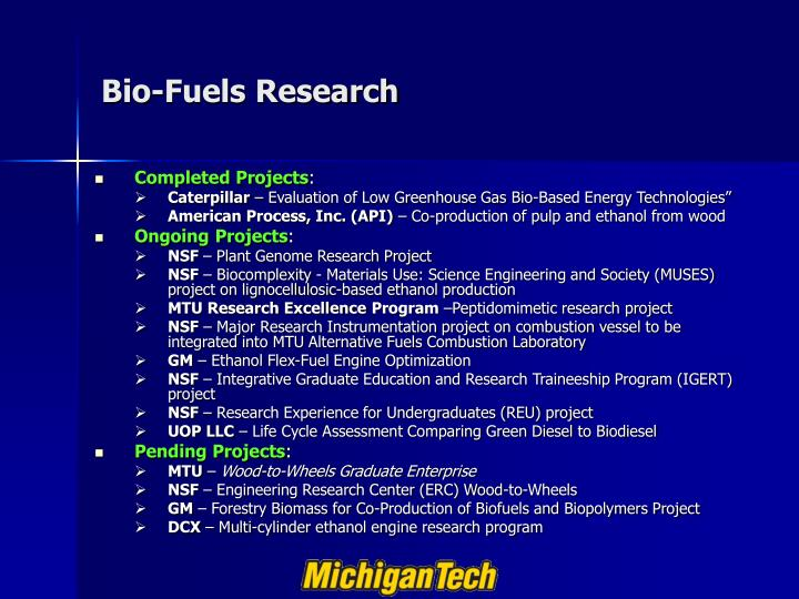 Bio-Fuels Research