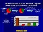w2w cellulosic ethanol research impacts displacement of us petroleum consumption