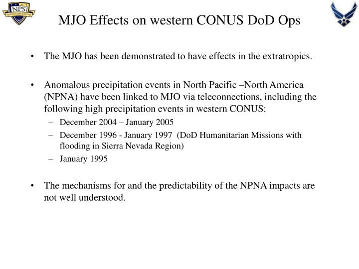 MJO Effects on western CONUS DoD Ops