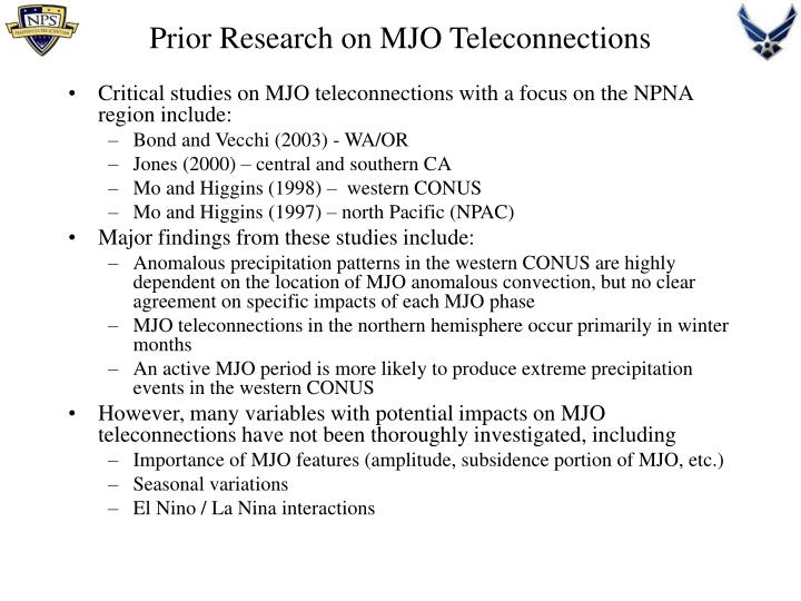 Prior Research on MJO Teleconnections
