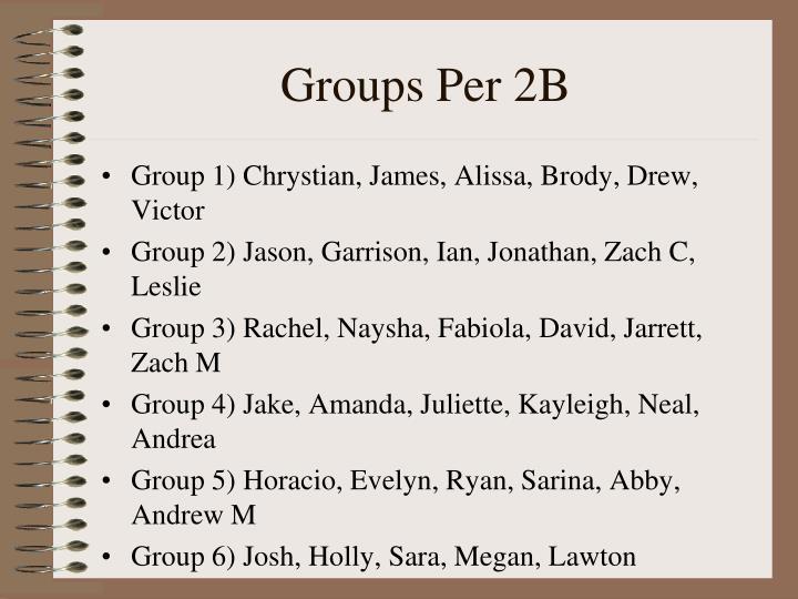 Groups Per 2B