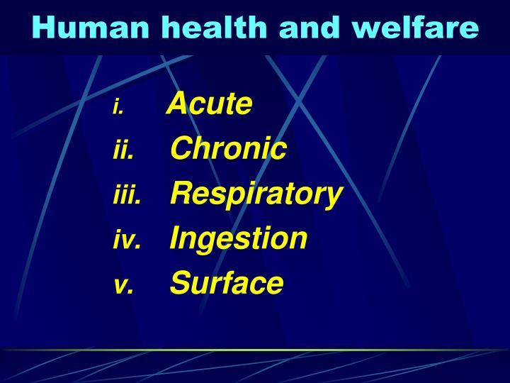 Human health and welfare