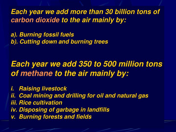 Each year we add more than 30 billion tons of