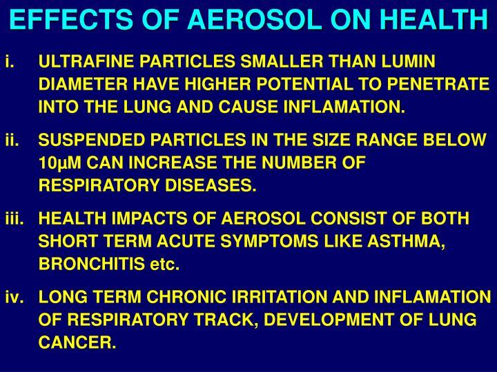 EFFECTS OF AEROSOL ON HEALTH