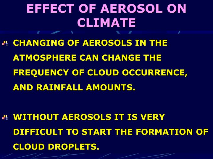 EFFECT OF AEROSOL ON CLIMATE